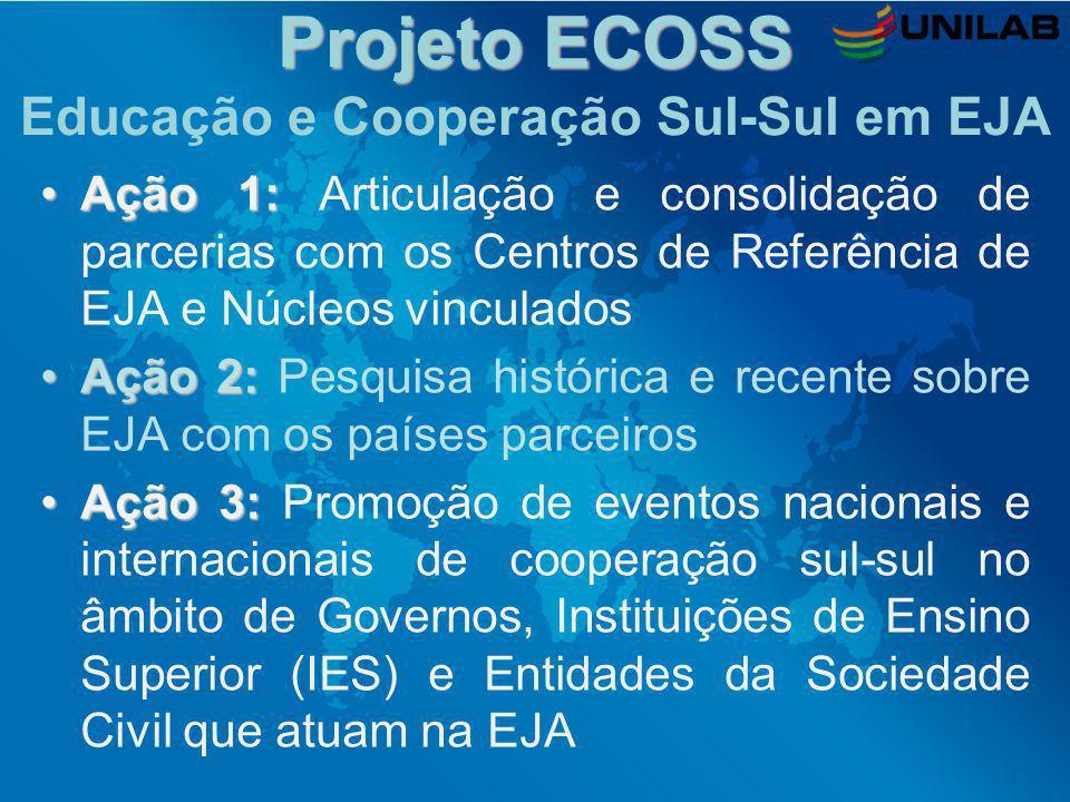Projeto ECOSS Projeto ECOSS Educação e Cooperação Sul-Sul em EJA Ação 1:Ação 1: Articulação e consolidação de parcerias com os Centros de Referência d