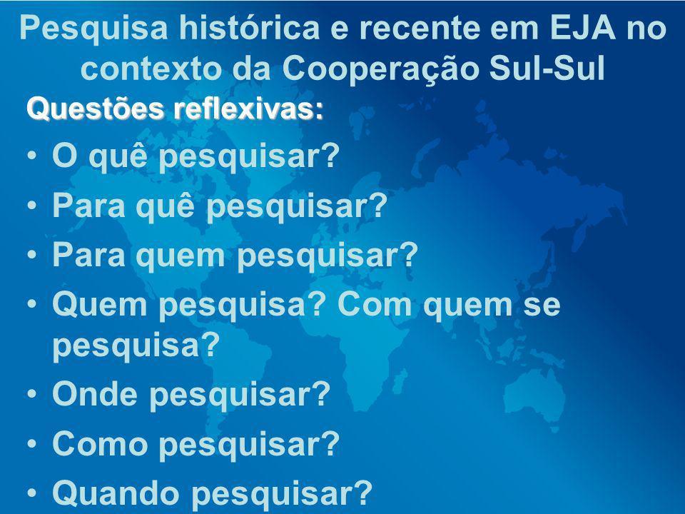 Pesquisa histórica e recente em EJA no contexto da Cooperação Sul-Sul Questões reflexivas: O quê pesquisar? Para quê pesquisar? Para quem pesquisar? Q