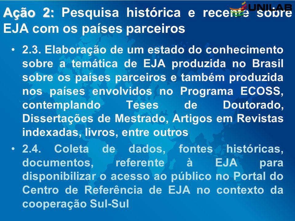 Ação 2: Ação 2: Pesquisa histórica e recente sobre EJA com os países parceiros 2.3. Elaboração de um estado do conhecimento sobre a temática de EJA pr