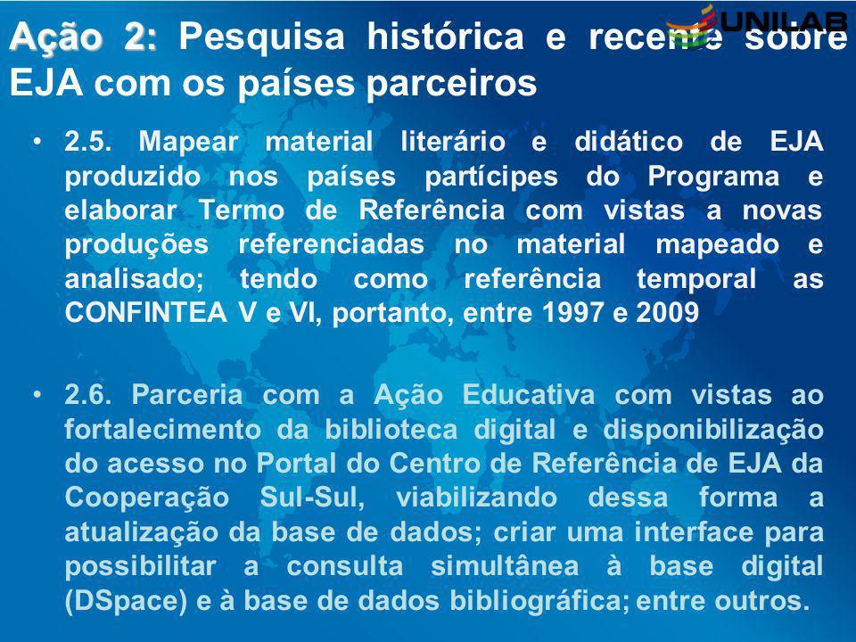 Ação 2: Ação 2: Pesquisa histórica e recente sobre EJA com os países parceiros 2.5. Mapear material literário e didático de EJA produzido nos países p