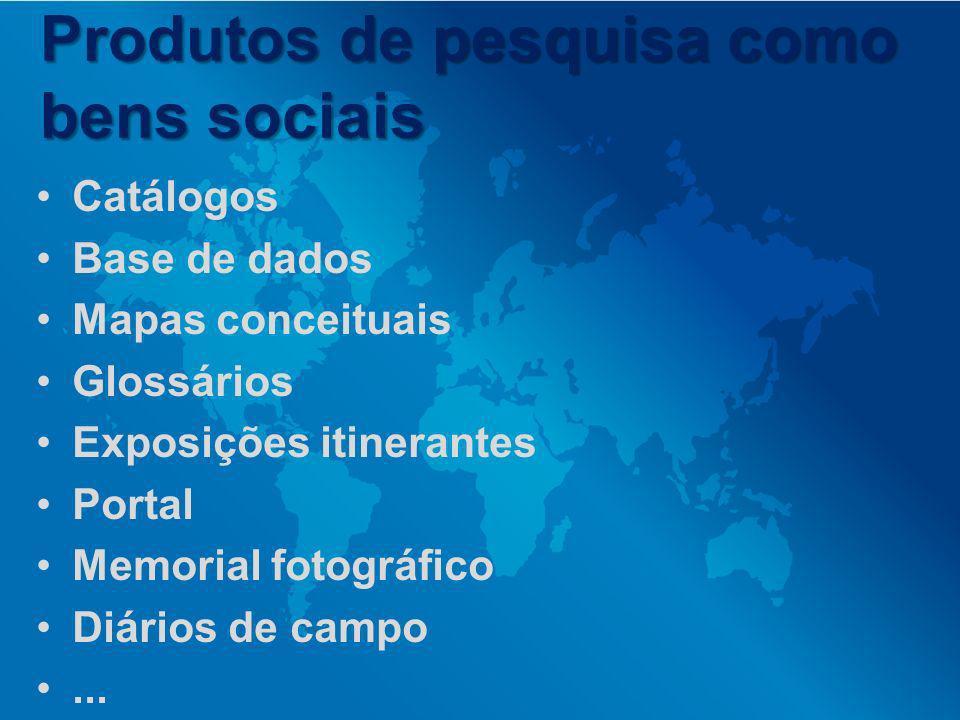 Produtos de pesquisa como bens sociais Catálogos Base de dados Mapas conceituais Glossários Exposições itinerantes Portal Memorial fotográfico Diários