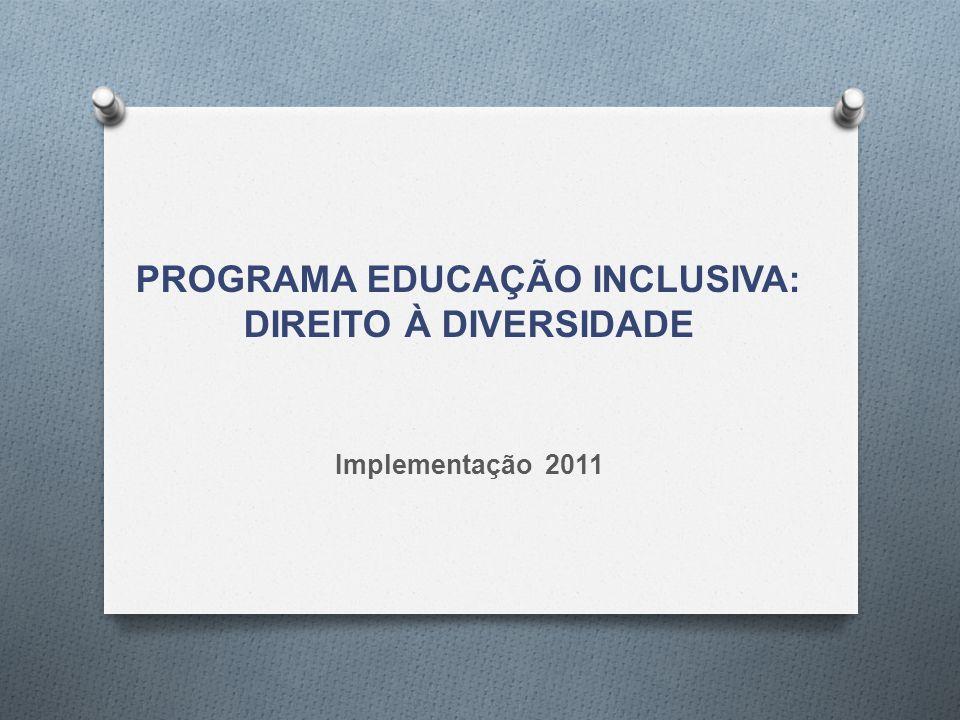 Documento Orientador do Programa Educação Inclusiva: direito à diversidade 2011/2012 Objetivo: Estabelece como objetivo a construção de sistemas educacionais inclusivos.