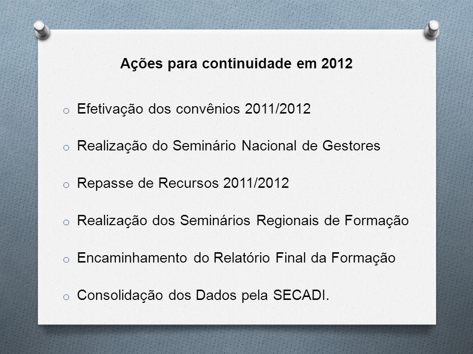 Ações para continuidade em 2012 o Efetivação dos convênios 2011/2012 o Realização do Seminário Nacional de Gestores o Repasse de Recursos 2011/2012 o Realização dos Seminários Regionais de Formação o Encaminhamento do Relatório Final da Formação o Consolidação dos Dados pela SECADI.
