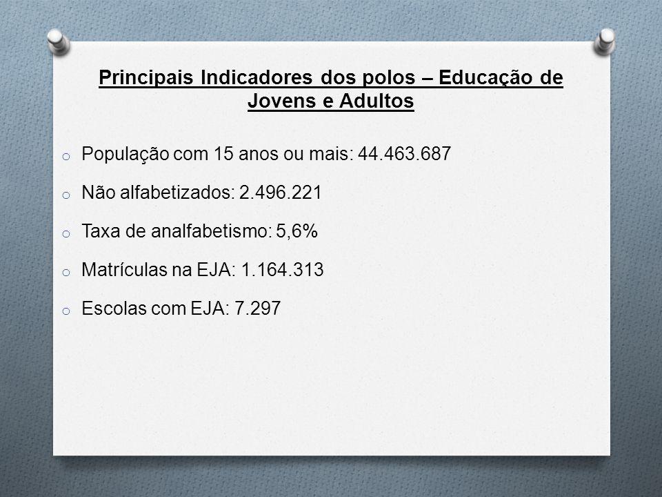Principais Indicadores dos polos – Educação de Jovens e Adultos o População com 15 anos ou mais: 44.463.687 o Não alfabetizados: 2.496.221 o Taxa de analfabetismo: 5,6% o Matrículas na EJA: 1.164.313 o Escolas com EJA: 7.297