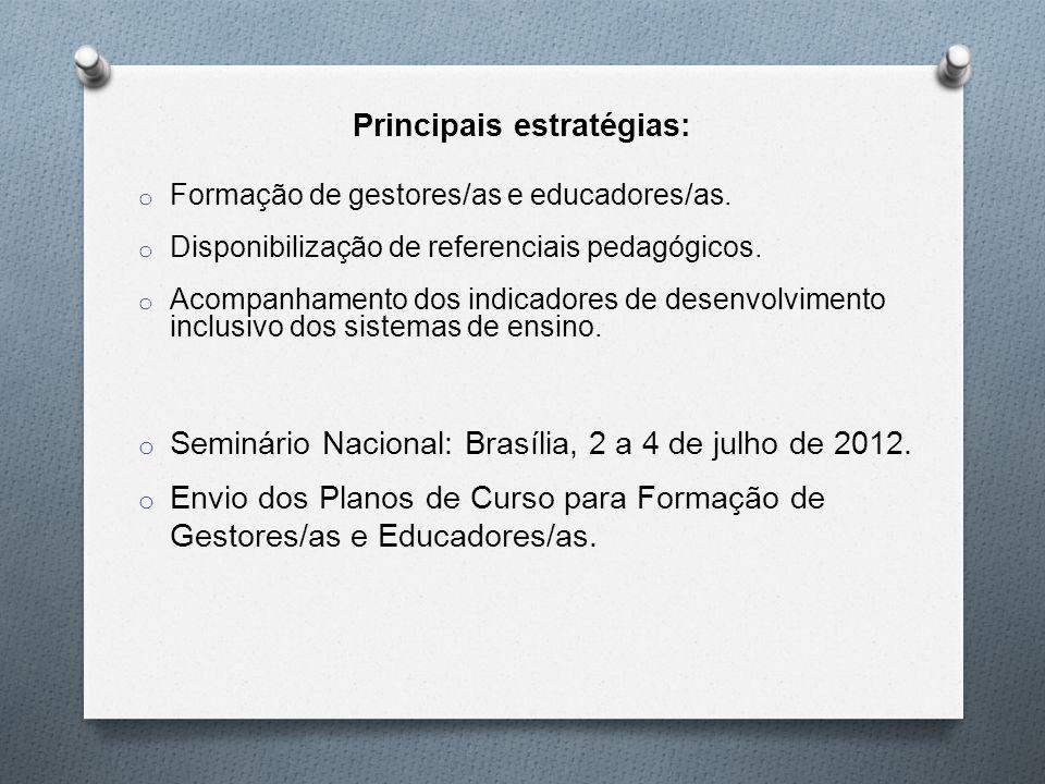 Principais estratégias: o Formação de gestores/as e educadores/as.