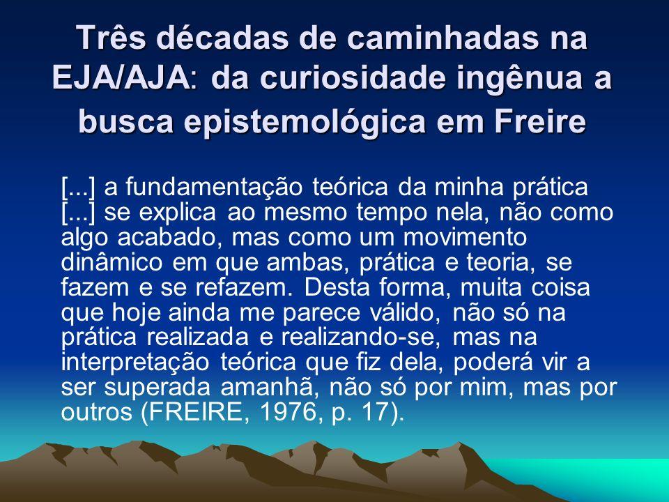 Três décadas de caminhadas na EJA/AJA: da curiosidade ingênua a busca epistemológica em Freire [...] a fundamentação teórica da minha prática [...] se