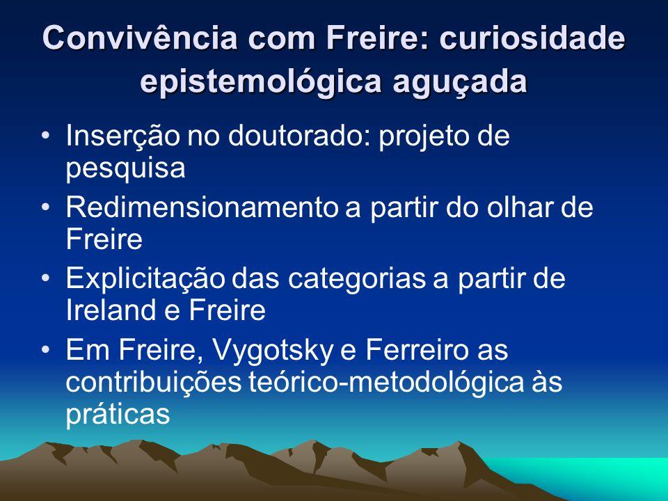 Convivência com Freire: curiosidade epistemológica aguçada Inserção no doutorado: projeto de pesquisa Redimensionamento a partir do olhar de Freire Ex