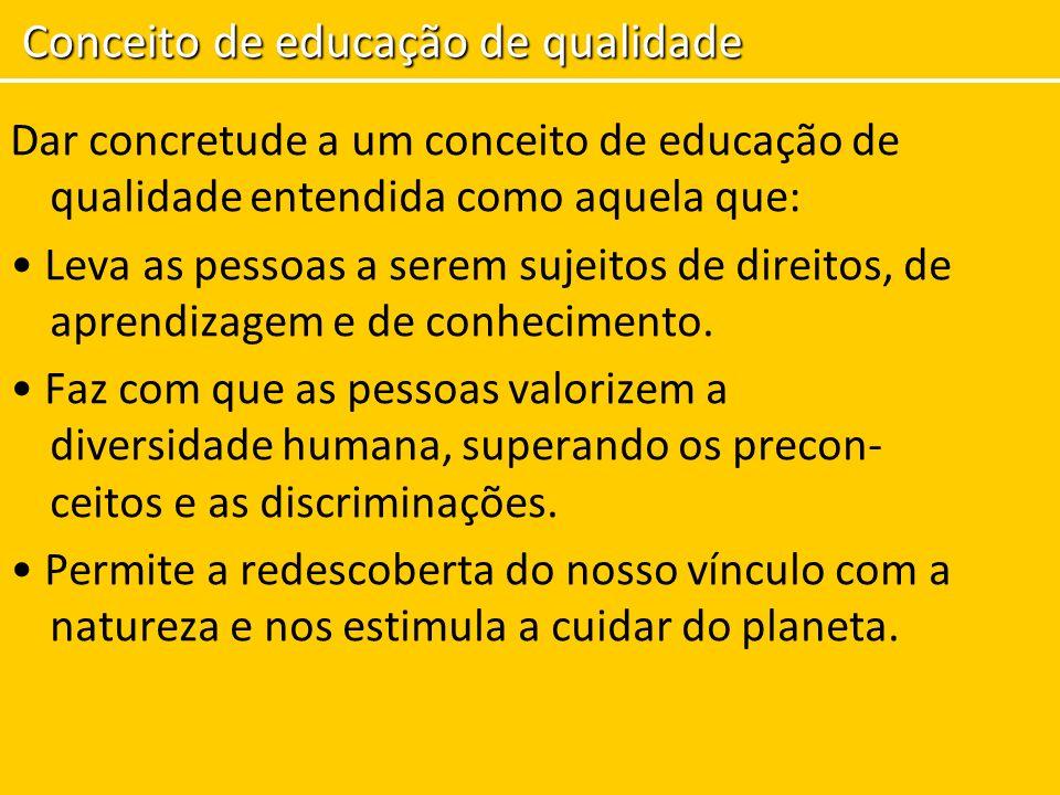 Dar concretude a um conceito de educação de qualidade entendida como aquela que: Leva as pessoas a serem sujeitos de direitos, de aprendizagem e de co