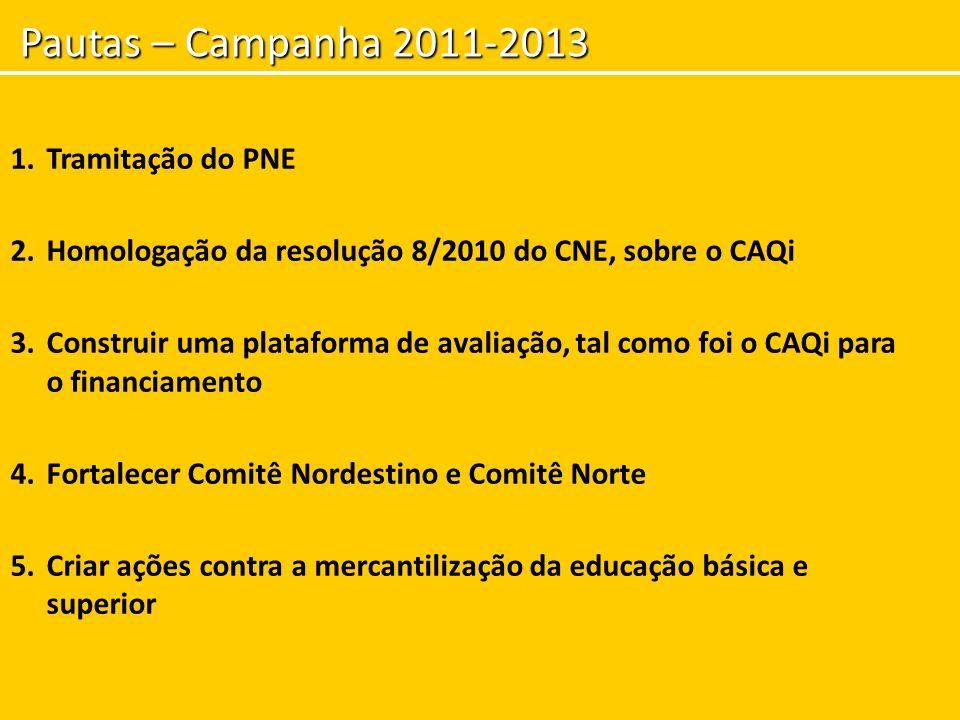 Pautas – Campanha 2011-2013 1.Tramitação do PNE 2.Homologação da resolução 8/2010 do CNE, sobre o CAQi 3.Construir uma plataforma de avaliação, tal co