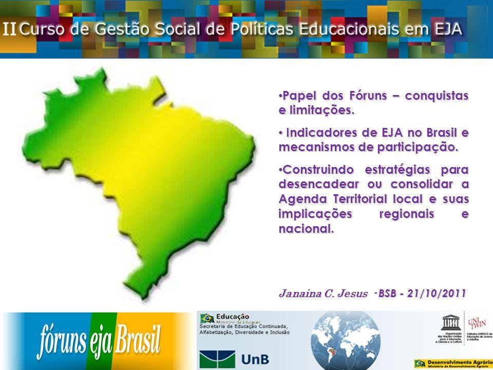 Papel dos Fóruns – conquistas e limitações. Papel dos Fóruns – conquistas e limitações. Indicadores de EJA no Brasil e mecanismos de participação. Ind