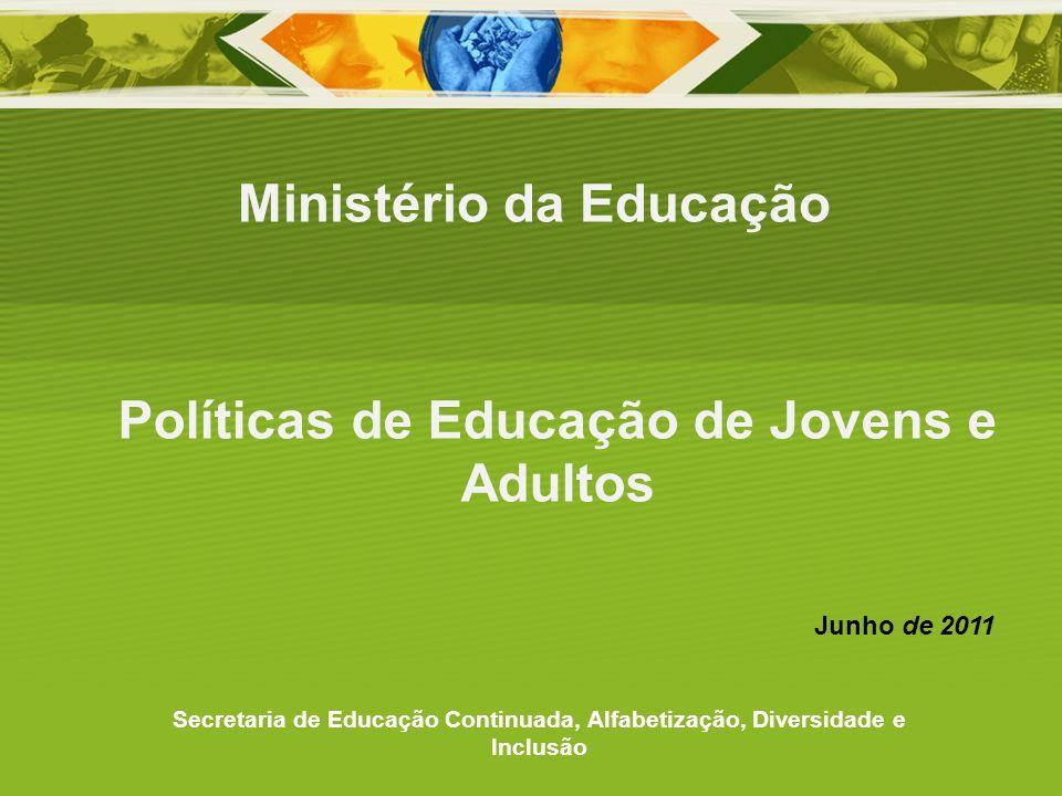 Políticas de Educação de Jovens e Adultos Ministério da Educação Secretaria de Educação Continuada, Alfabetização, Diversidade e Inclusão Junho de 201