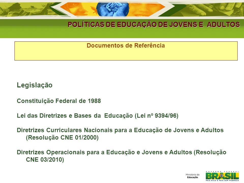 POLÍTICAS DE EDUCAÇÃO DE JOVENS E ADULTOS Documentos de Referência Legislação Constituição Federal de 1988 Lei das Diretrizes e Bases da Educação (Lei nº 9394/96) Diretrizes Curriculares Nacionais para a Educação de Jovens e Adultos (Resolução CNE 01/2000) Diretrizes Operacionais para a Educação e Jovens e Adultos (Resolução CNE 03/2010)
