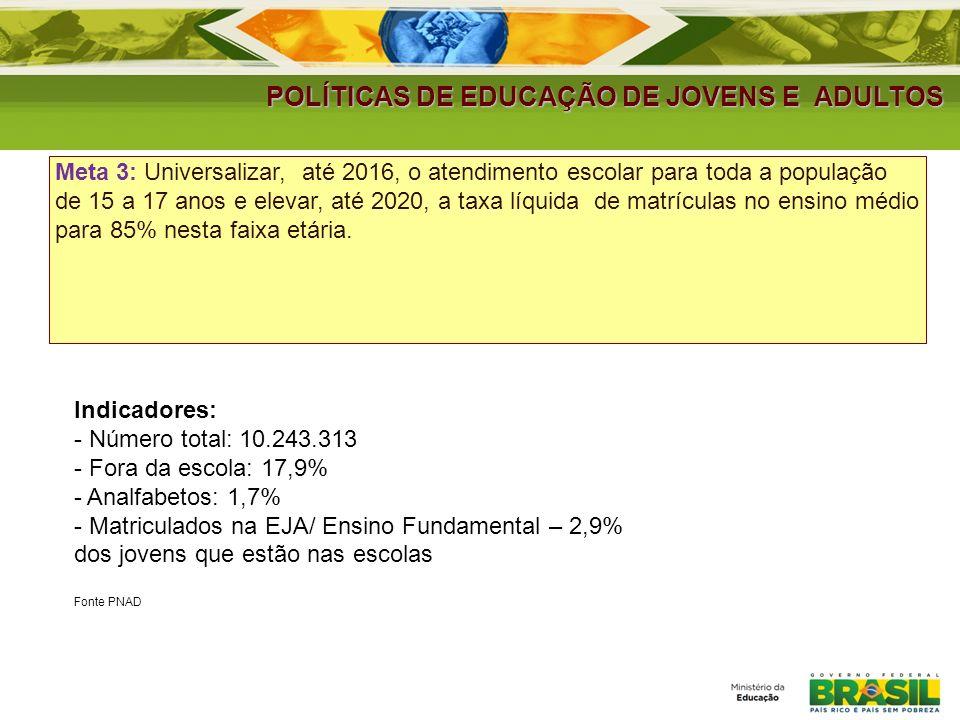 POLÍTICAS DE EDUCAÇÃO DE JOVENS E ADULTOS Meta 3: Universalizar, até 2016, o atendimento escolar para toda a população de 15 a 17 anos e elevar, até 2
