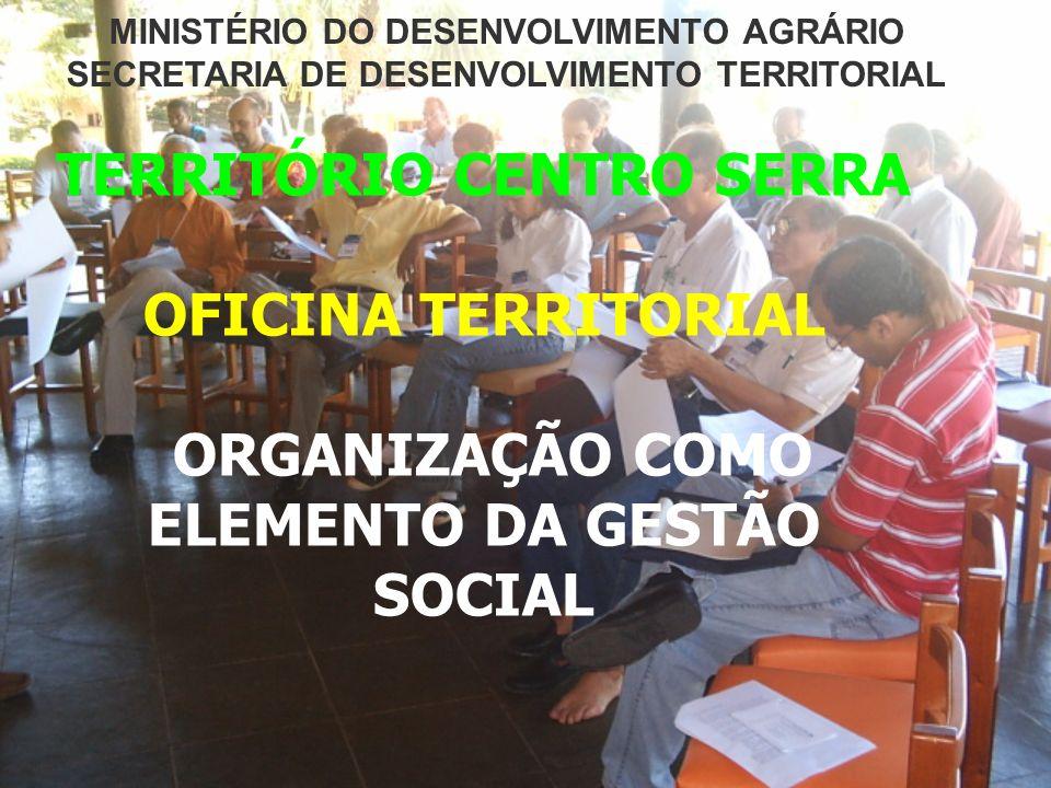 TERRITÓRIO CENTRO SERRA OFICINA TERRITORIAL ORGANIZAÇÃO COMO ELEMENTO DA GESTÃO SOCIAL MINISTÉRIO DO DESENVOLVIMENTO AGRÁRIO SECRETARIA DE DESENVOLVIM