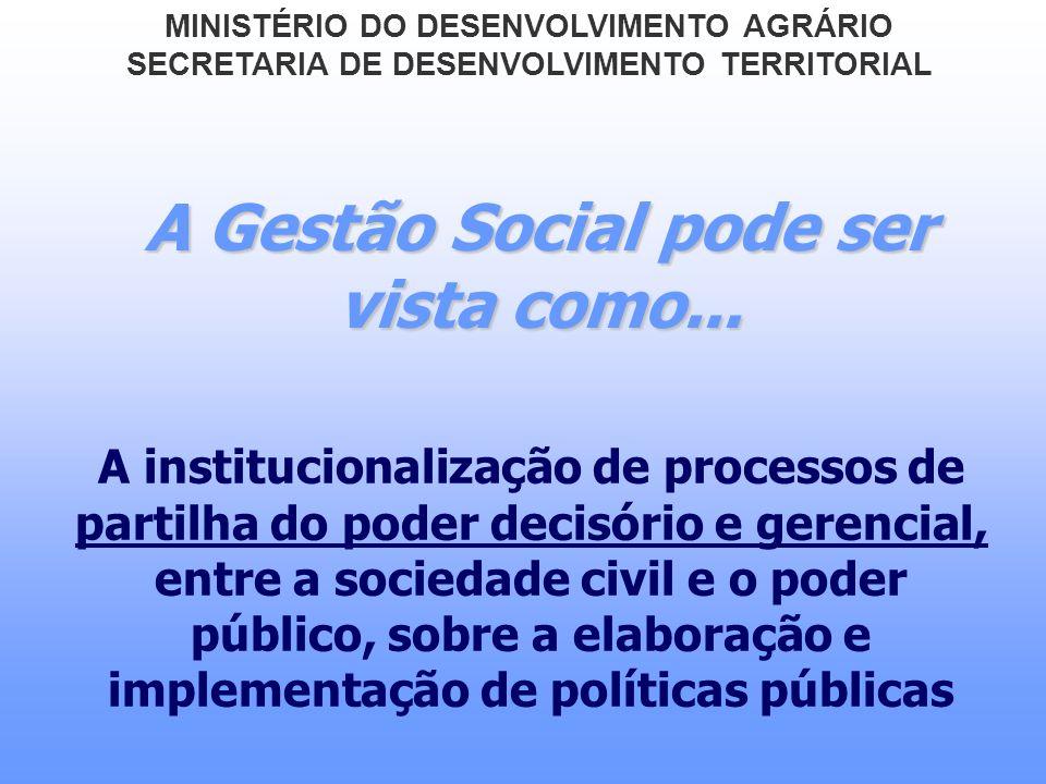 A Gestão Social pode ser vista como... A institucionalização de processos de partilha do poder decisório e gerencial, entre a sociedade civil e o pode