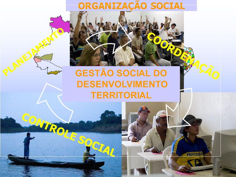 PLANEJAMENTO CONTROLE SOCIAL ORGANIZAÇÃO SOCIAL COORDENAÇÃO GESTÃO SOCIAL DO DESENVOLVIMENTO TERRITORIAL