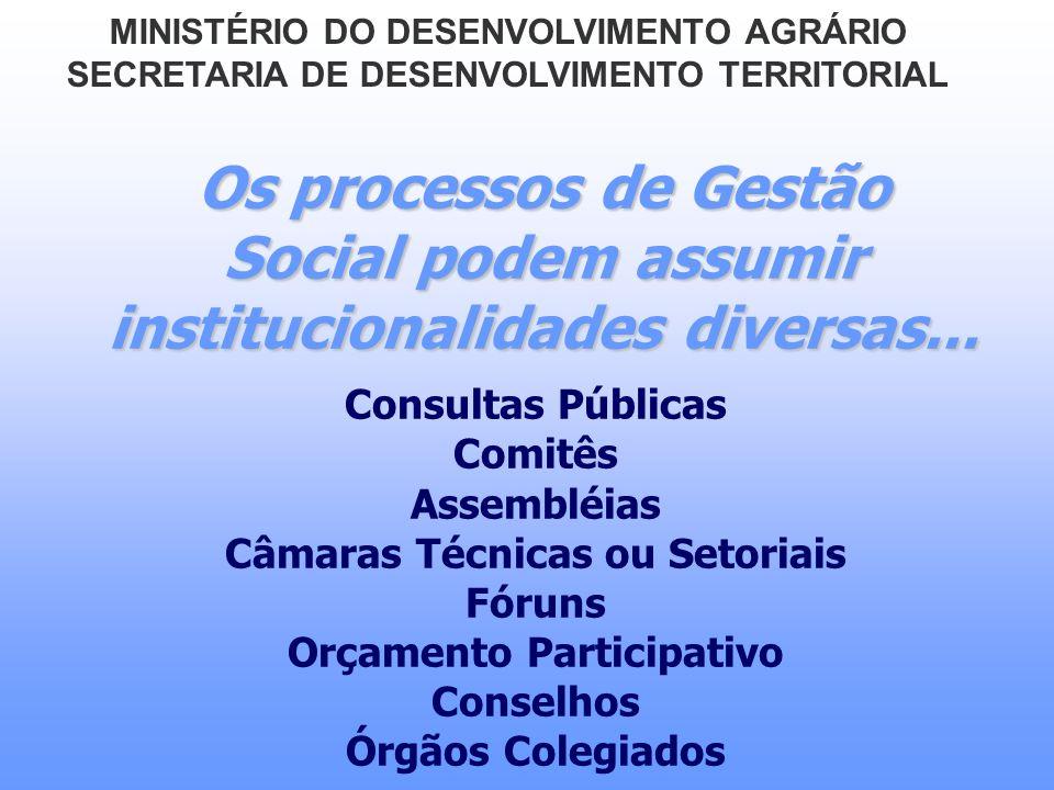 Os processos de Gestão Social podem assumir institucionalidades diversas... Consultas Públicas Comitês Assembléias Câmaras Técnicas ou Setoriais Fórun