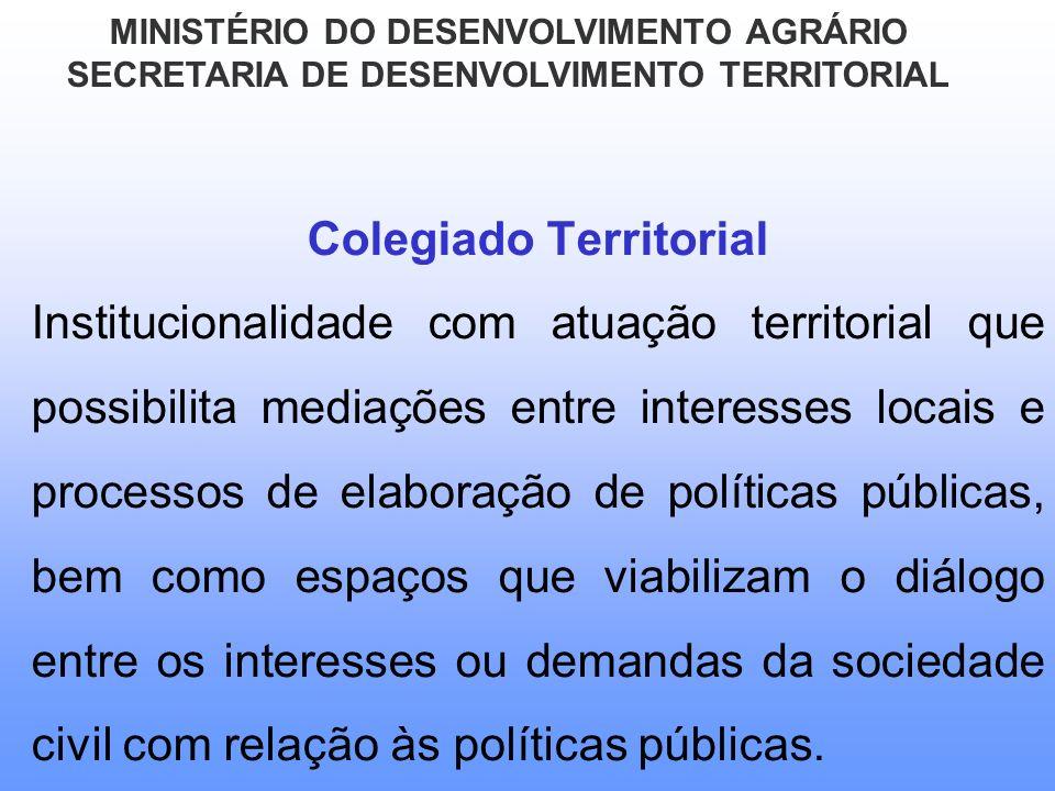 Colegiado Territorial Institucionalidade com atuação territorial que possibilita mediações entre interesses locais e processos de elaboração de políti