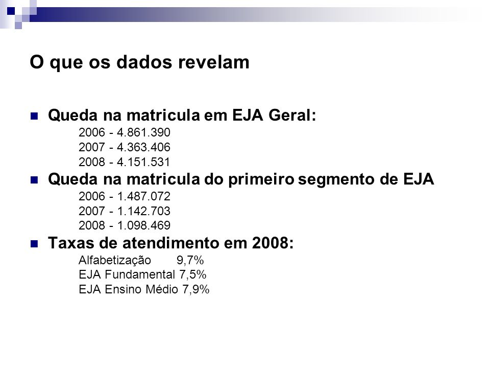 O que os dados revelam Queda na matricula em EJA Geral: 2006 - 4.861.390 2007 - 4.363.406 2008 - 4.151.531 Queda na matricula do primeiro segmento de