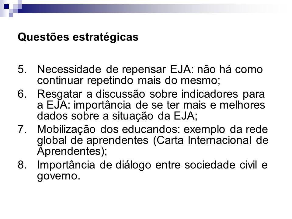 Questões estratégicas 5.Necessidade de repensar EJA: não há como continuar repetindo mais do mesmo; 6. Resgatar a discussão sobre indicadores para a E