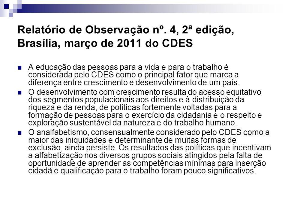 Relatório de Observação nº. 4, 2ª edição, Brasília, março de 2011 do CDES A educação das pessoas para a vida e para o trabalho é considerada pelo CDES