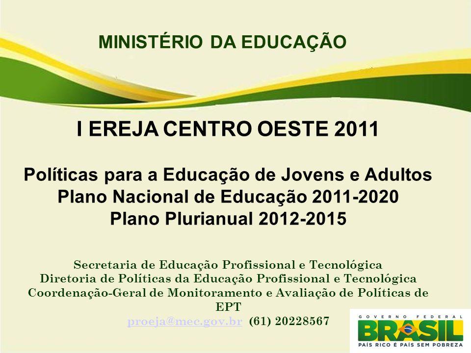 MINISTÉRIO DA EDUCAÇÃO I EREJA CENTRO OESTE 2011 Políticas para a Educação de Jovens e Adultos Plano Nacional de Educação 2011-2020 Plano Plurianual 2