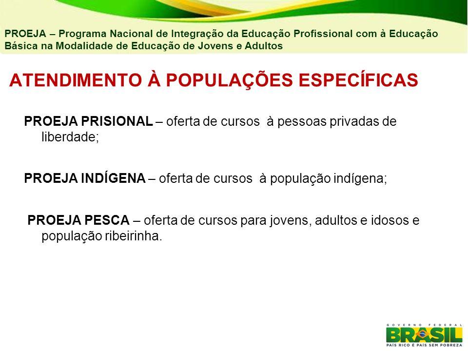 ATENDIMENTO À POPULAÇÕES ESPECÍFICAS PROEJA PRISIONAL – oferta de cursos à pessoas privadas de liberdade; PROEJA INDÍGENA – oferta de cursos à populaç