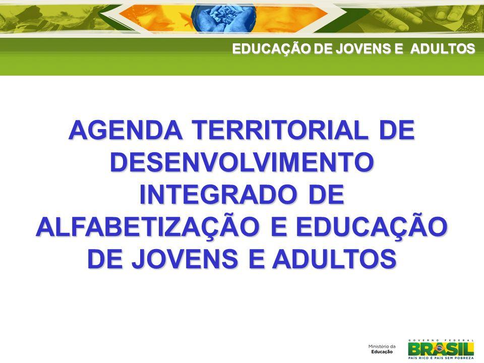 EDUCAÇÃO DE JOVENS E ADULTOS FORTALECIME NTO DAS REDES AGENDA TERRITORIAL DE DESENVOLVIMENTO INTEGRADO DE ALFABETIZAÇÃO E EDUCAÇÃO DE JOVENS E ADULTOS