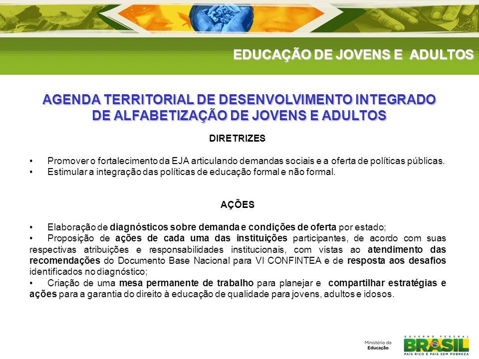 DIRETRIZES Promover o fortalecimento da EJA articulando demandas sociais e a oferta de políticas públicas. Estimular a integração das políticas de edu