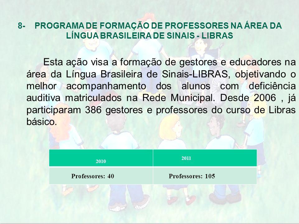 8- PROGRAMA DE FORMAÇÃO DE PROFESSORES NA ÁREA DA LÍNGUA BRASILEIRA DE SINAIS - LIBRAS Esta ação visa a formação de gestores e educadores na área da L