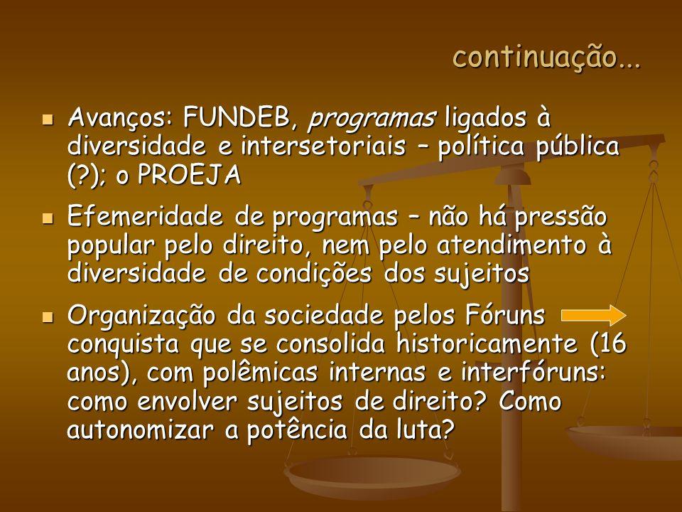 continuação... Avanços: FUNDEB, programas ligados à diversidade e intersetoriais – política pública (?); o PROEJA Avanços: FUNDEB, programas ligados à
