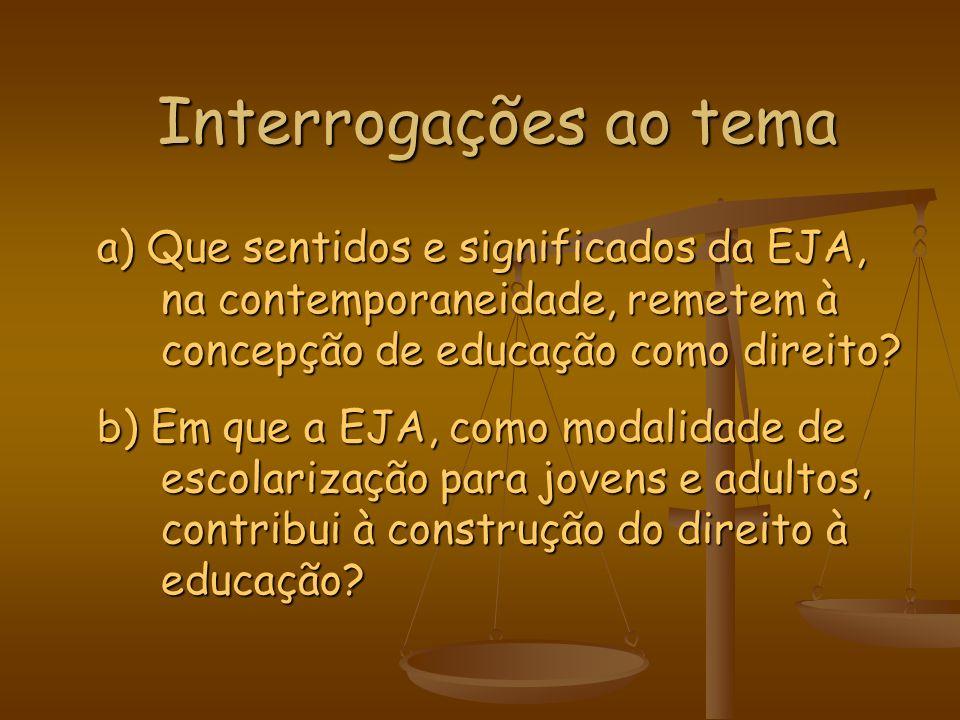 Interrogações ao tema a) Que sentidos e significados da EJA, na contemporaneidade, remetem à concepção de educação como direito? b) Em que a EJA, como