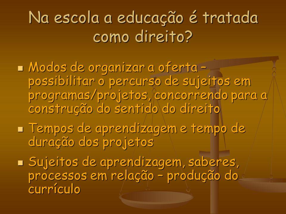Na escola a educação é tratada como direito? Modos de organizar a oferta – possibilitar o percurso de sujeitos em programas/projetos, concorrendo para