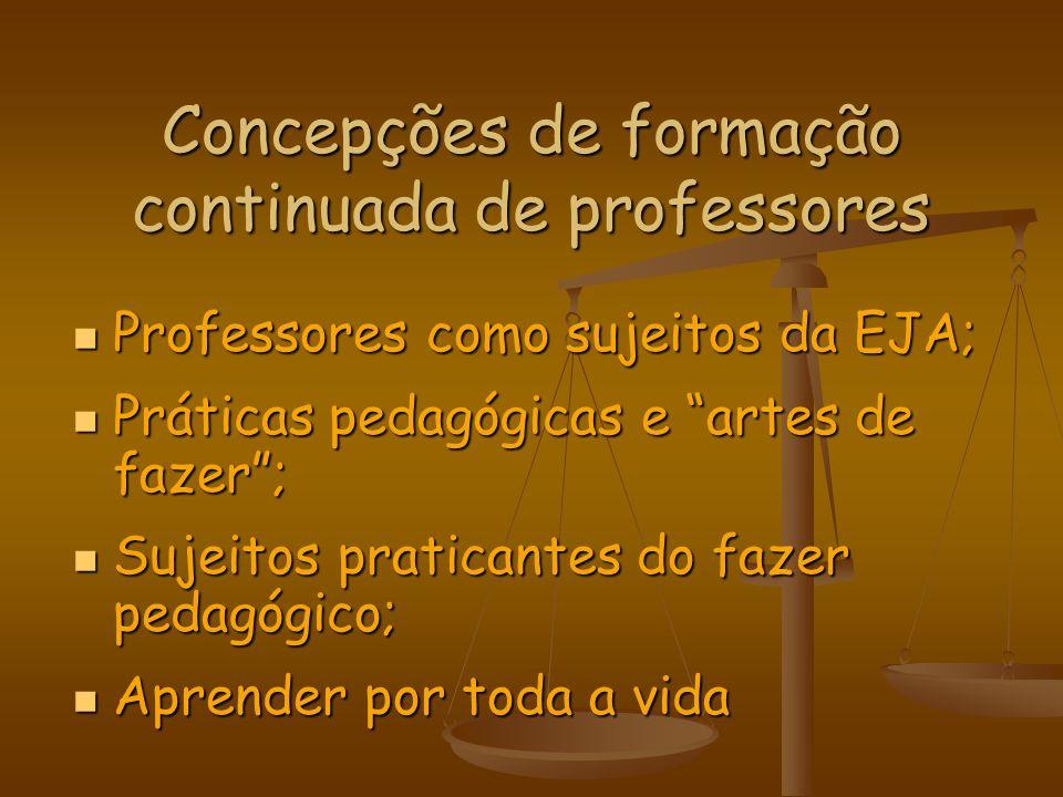 Concepções de formação continuada de professores Professores como sujeitos da EJA; Professores como sujeitos da EJA; Práticas pedagógicas e artes de f