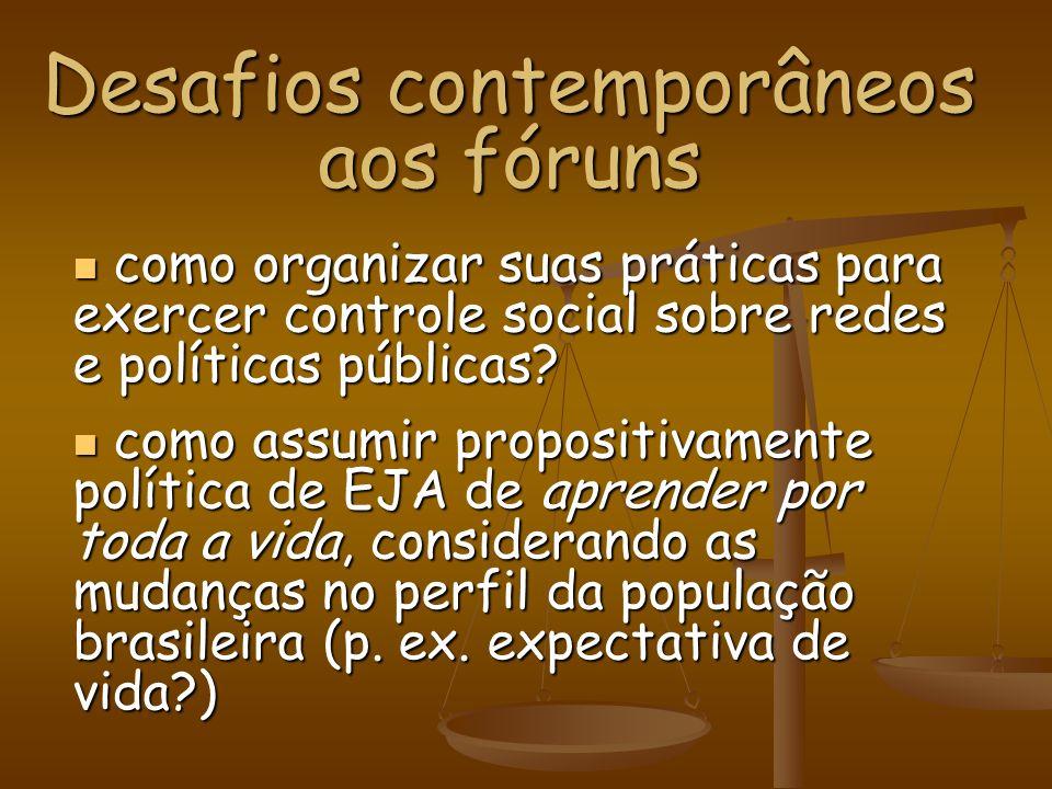 Desafios contemporâneos aos fóruns como organizar suas práticas para exercer controle social sobre redes e políticas públicas? como organizar suas prá