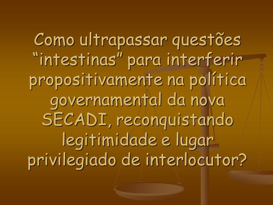 Como ultrapassar questões intestinas para interferir propositivamente na política governamental da nova SECADI, reconquistando legitimidade e lugar pr