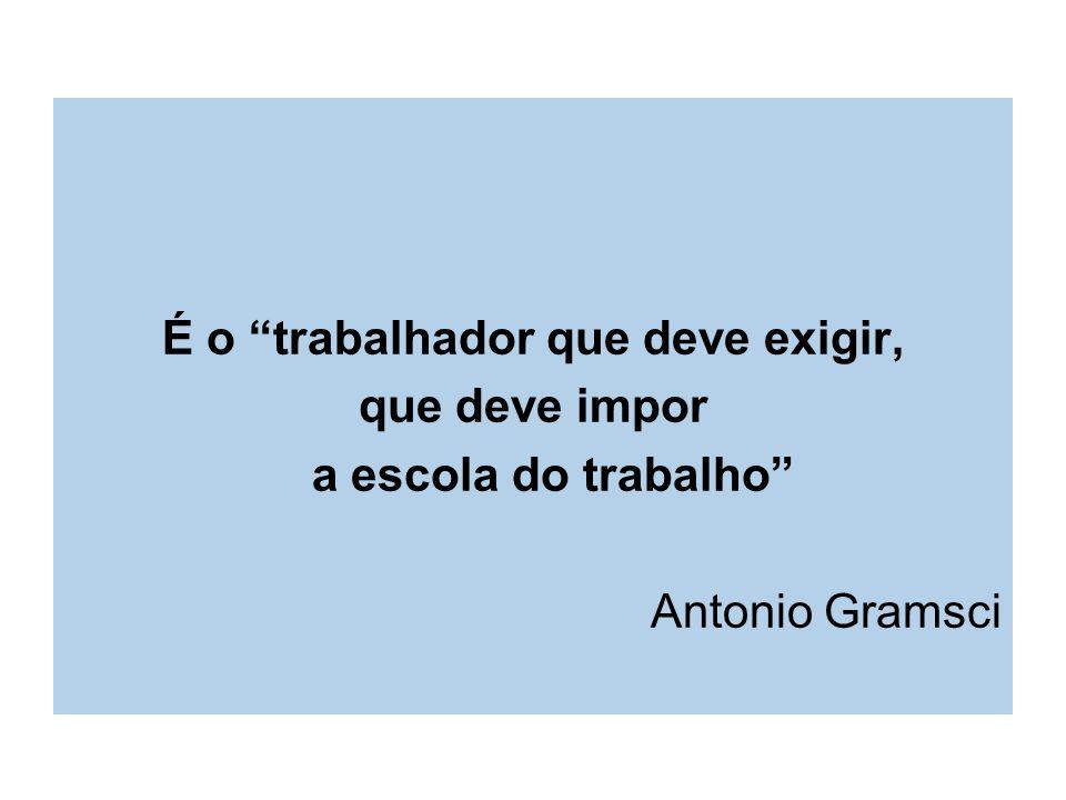 É o trabalhador que deve exigir, que deve impor a escola do trabalho Antonio Gramsci