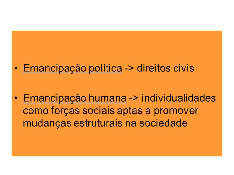 Emancipação política -> direitos civis Emancipação humana -> individualidades como forças sociais aptas a promover mudanças estruturais na sociedade