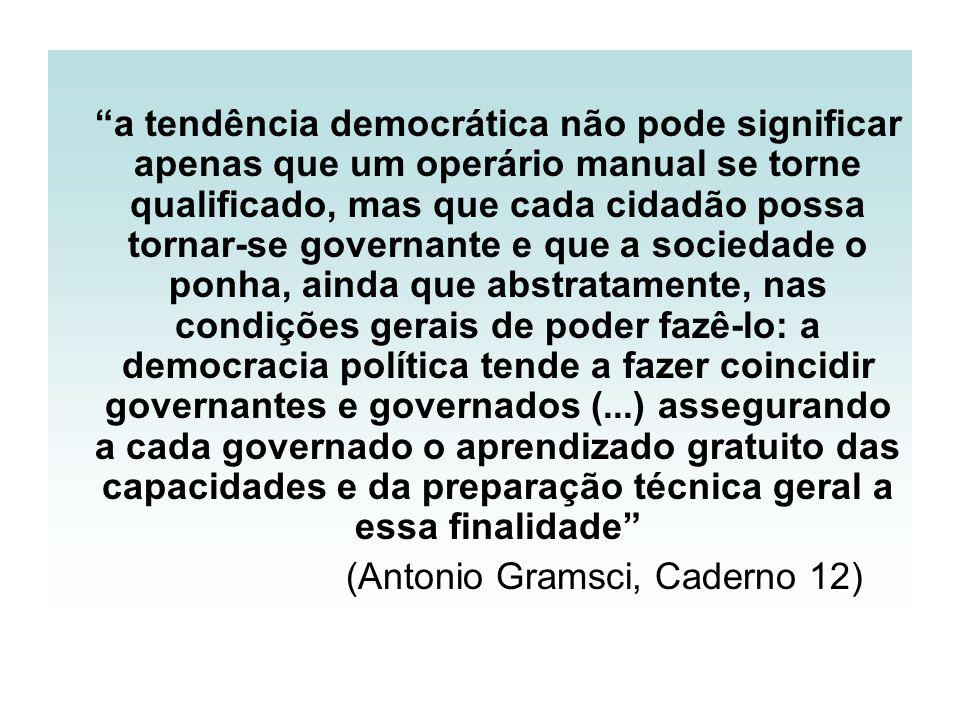 a tendência democrática não pode significar apenas que um operário manual se torne qualificado, mas que cada cidadão possa tornar-se governante e que