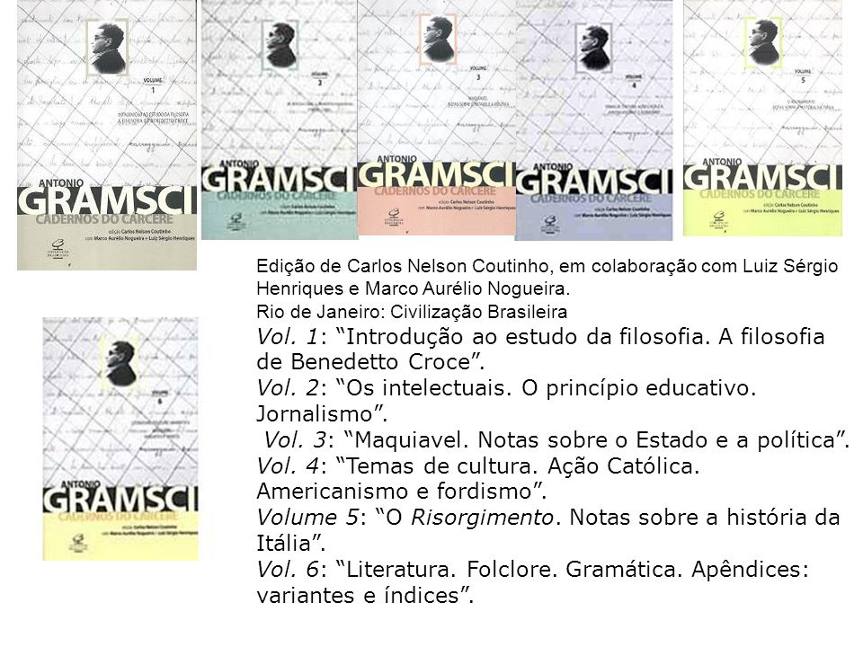 Edição de Carlos Nelson Coutinho, em colaboração com Luiz Sérgio Henriques e Marco Aurélio Nogueira. Rio de Janeiro: Civilização Brasileira Vol. 1: In