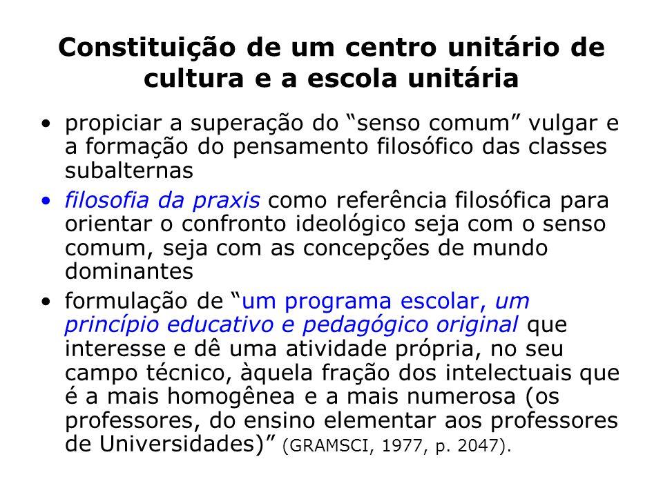 Constituição de um centro unitário de cultura e a escola unitária propiciar a superação do senso comum vulgar e a formação do pensamento filosófico da