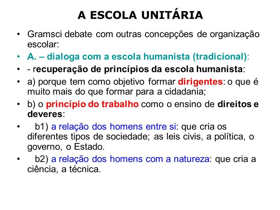 A ESCOLA UNITÁRIA Gramsci debate com outras concepções de organização escolar: A. – dialoga com a escola humanista (tradicional): - recuperação de pri