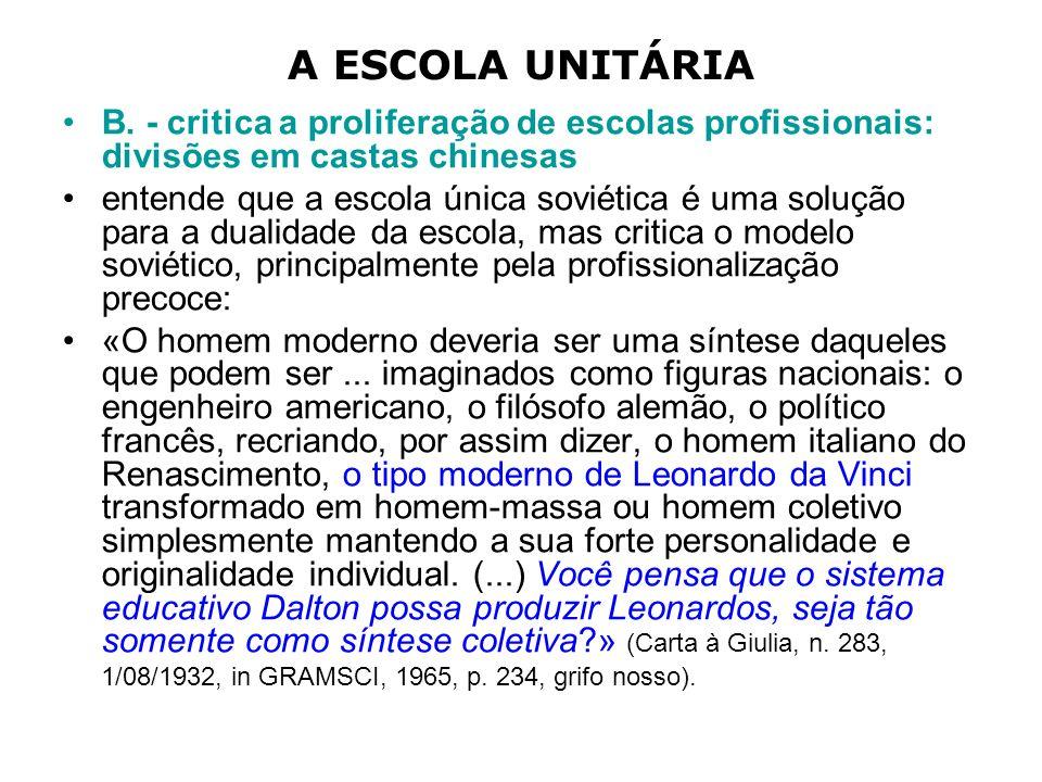 A ESCOLA UNITÁRIA B.