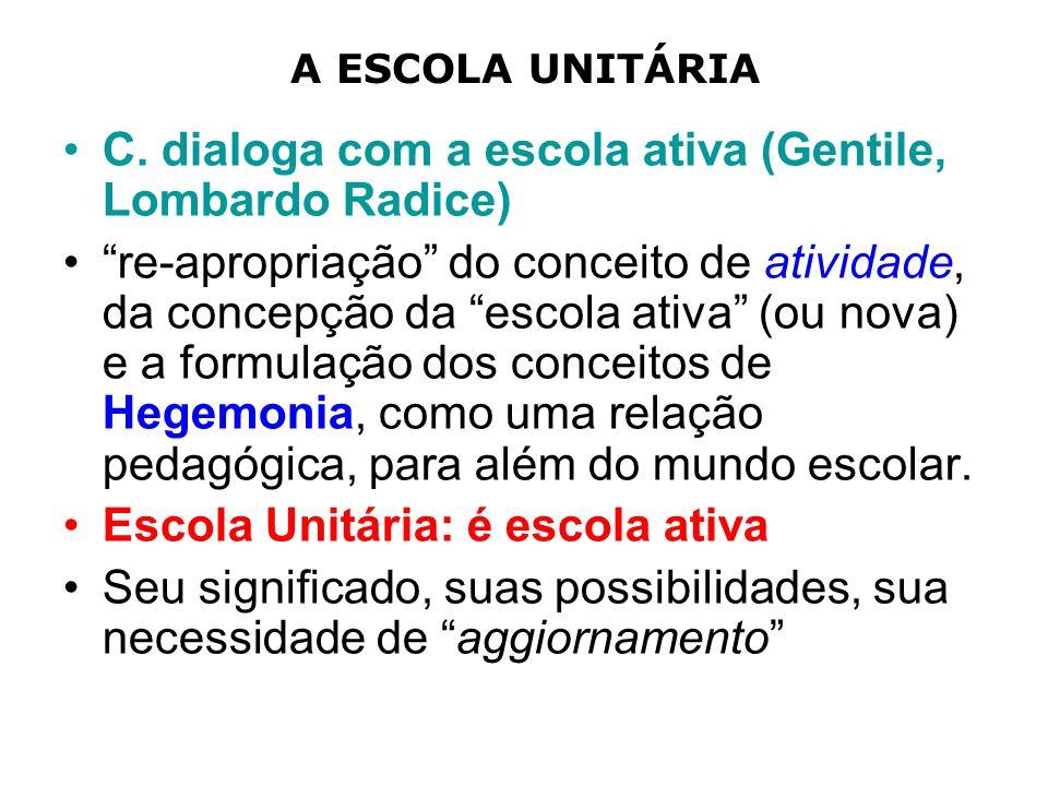 A ESCOLA UNITÁRIA C. dialoga com a escola ativa (Gentile, Lombardo Radice) re-apropriação do conceito de atividade, da concepção da escola ativa (ou n