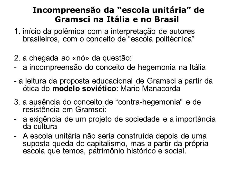 Incompreensão da escola unitária de Gramsci na Itália e no Brasil 1. início da polêmica com a interpretação de autores brasileiros, com o conceito de