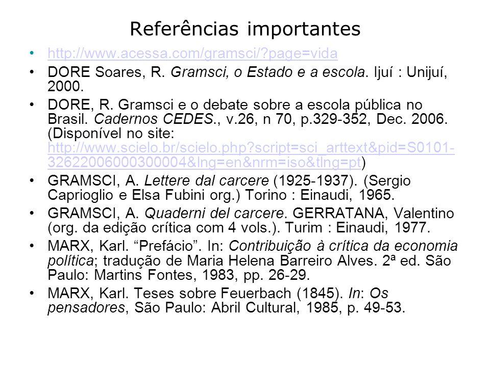 Referências importantes http://www.acessa.com/gramsci/?page=vida DORE Soares, R. Gramsci, o Estado e a escola. Ijuí : Unijuí, 2000. DORE, R. Gramsci e