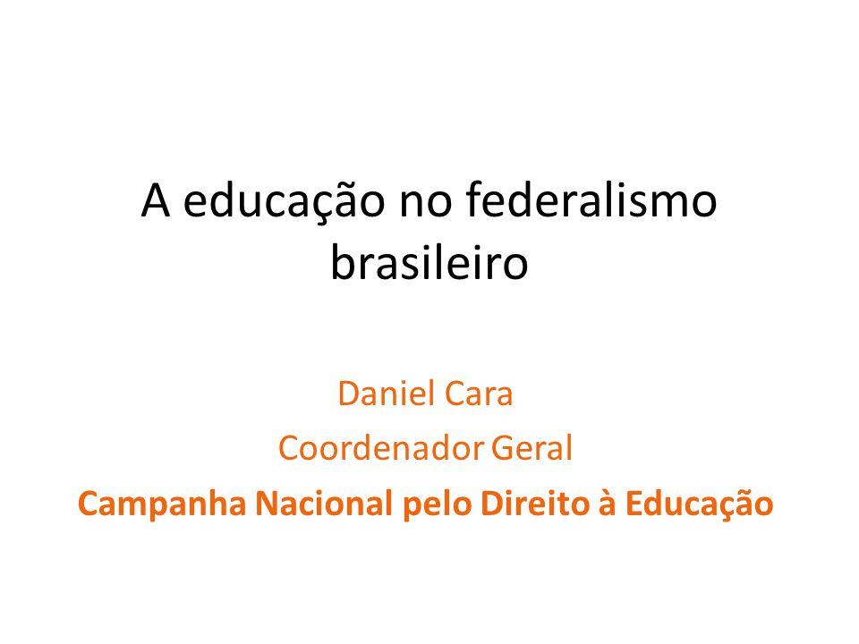 A educação no federalismo brasileiro Daniel Cara Coordenador Geral Campanha Nacional pelo Direito à Educação