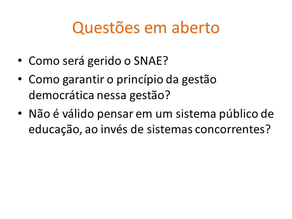 Questões em aberto Como será gerido o SNAE.