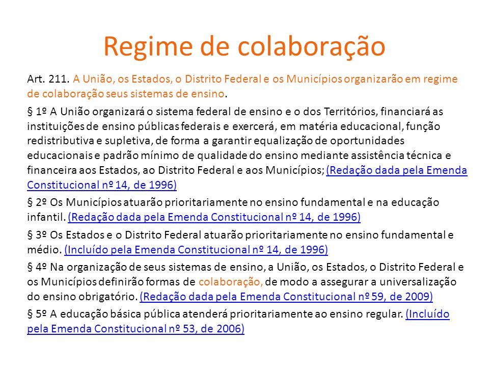 Regime de colaboração Art.211.