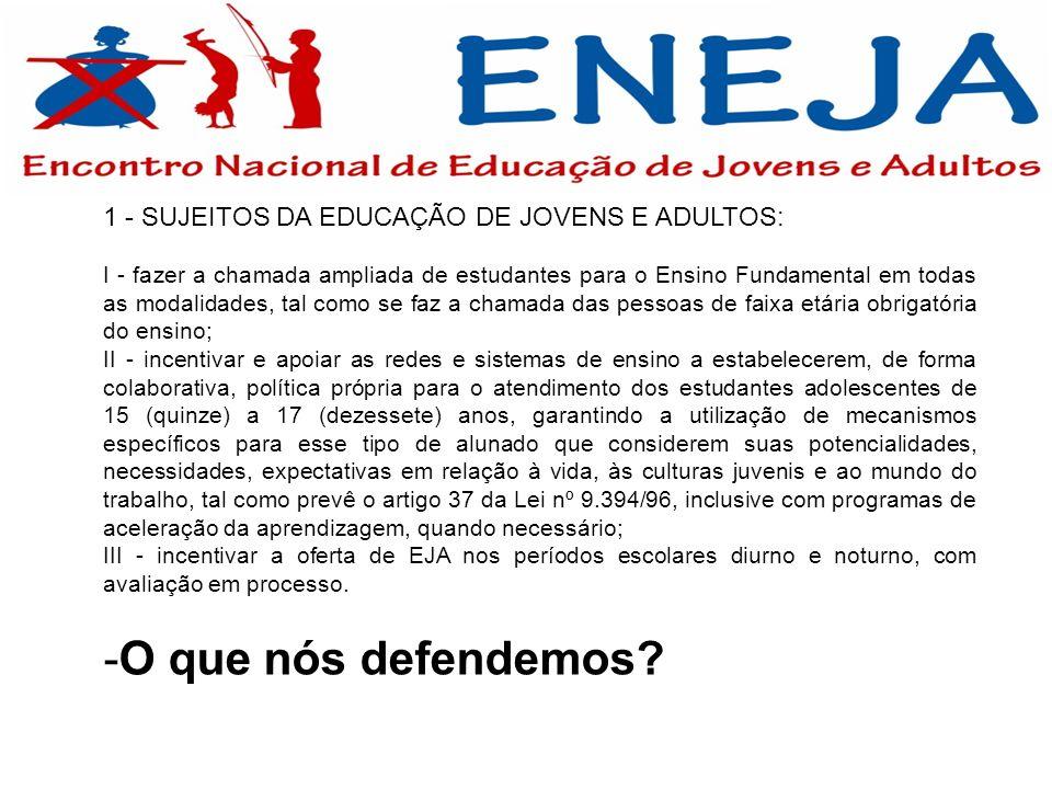 1 - SUJEITOS DA EDUCAÇÃO DE JOVENS E ADULTOS: I - fazer a chamada ampliada de estudantes para o Ensino Fundamental em todas as modalidades, tal como s